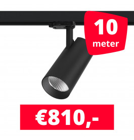LED Railverlichting Saros Zwart 10 spots + 10M rails
