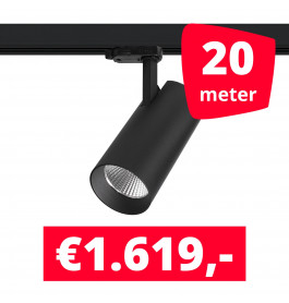 LED Railverlichting Saros Zwart 20 spots + 20M rails