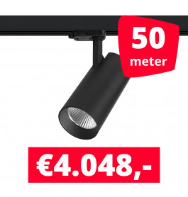 LED Railverlichting Saros Zwart 50 spots + 50M rails