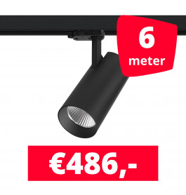 LED Railverlichting Saros Zwart 6 spots + 6M rails