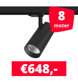 LED Railverlichting Saros Zwart 8 spots + 8M rails