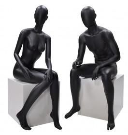 Faceless etalagepop dame & heer zwart.zittend merk Gruppo Corso