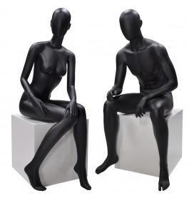 Faceless etalagepop dame & heer zwart  zittend merk Gruppo Corso