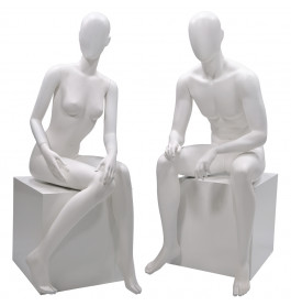 Faceless etalagepop dame & heer zittend wit  merk Gruppo Corso