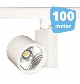 100x 30W LED Track Spot Spirit Wit 3000K Warmwit + 100m rails