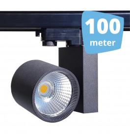 100x 30W LED Track Spot Spirit Zwart 3000K Warmwit + 100m rails