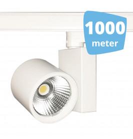 1000x 30W LED Track Spot Spirit Wit 3000K Warmwit + 1000m rails