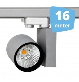 16x 30W LED Track Spot Spirit Grijs 3000K Warmwit + 16m rails