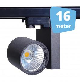 16x 30W LED Track Spot Spirit Zwart 3000K Warmwit + 16m rails