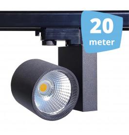 20x 30W LED Track Spot Spirit Zwart 3000K Warmwit + 20m rails