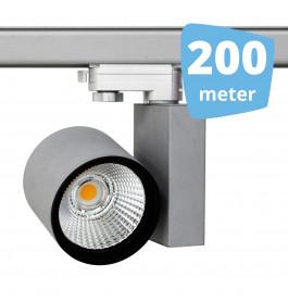 200x 30W LED Track Spot Spirit Grijs 3000K Warmwit + 200m rails