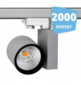2000x 30W LED Track Spot Spirit Grijs 3000K Warmwit + 2000m rails