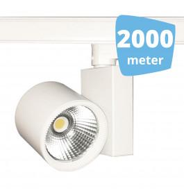 2000x 30W LED Track Spot Spirit Wit 3000K Warmwit + 2000m rails