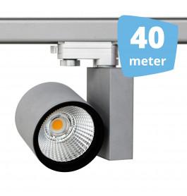 40x 30W LED Track Spot Spirit Grijs 3000K Warmwit + 40m rails