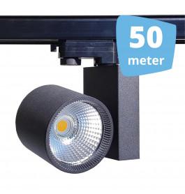 50x 30W LED Track Spot Spirit Zwart 3000K Warmwit + 50m rails