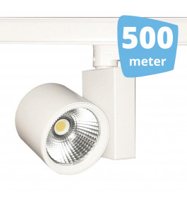 500x 30W LED Track Spot Spirit Wit 3000K Warmwit + 500m rails
