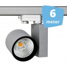 6x 30W LED Track Spot Spirit Grijs 3000K Warmwit + 6m rails