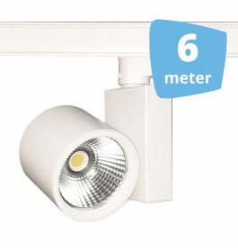 6x 30W LED Track Spot Spirit Wit 3000K Warmwit + 6m rails