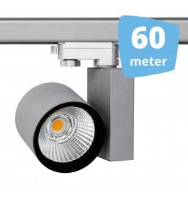 60x 30W LED Track Spot Spirit Grijs 3000K Warmwit + 60m rails
