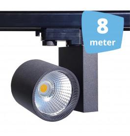 8x 30W LED Track Spot Spirit Zwart 3000K Warmwit + 8m rails