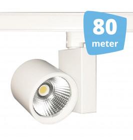 80x 30W LED Track Spot Spirit Wit 3000K Warmwit + 80m rails