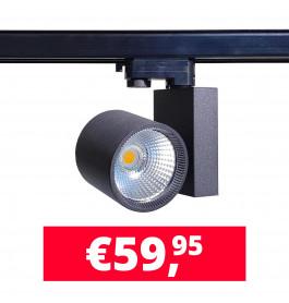 30W LED Track Spot Spirit Zwart 3000K Warmwit