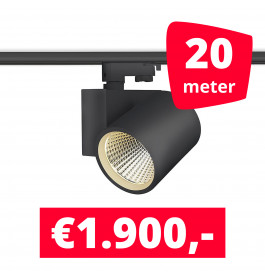 LED Railverlichting Stella Black 20 spots + 20M rails