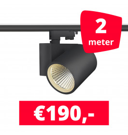 LED Railverlichting Stella Black 2 spots + 2M rails
