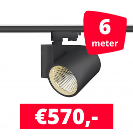 LED Railverlichting Stella Black 6 spots + 6M rails