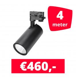 LED Railverlichting Style Zwart 4 spots + 4M rails