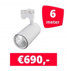 LED Railverlichting Style Wit 6 spots + 6M rails