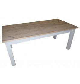 Strakke houten tafel 200 cm met rechte blokpoten