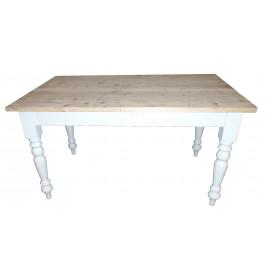 Mooie houten tafel 200 cm met ronde sierpoten