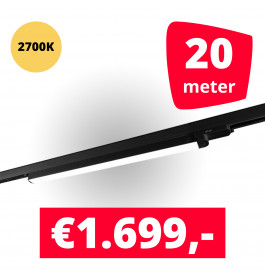 LED Railverlichting TL Linear Zwart 2700K 20 spots + 20M rails