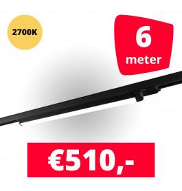 LED Railverlichting TL Linear Zwart 2700K 6 spots + 6M rails