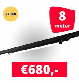LED Railverlichting TL Linear Zwart 2700K 8 spots + 8M rails
