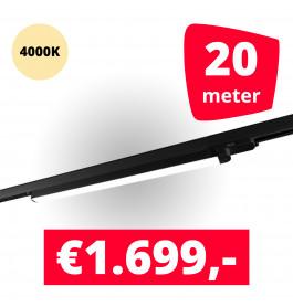 LED Railverlichting TL Linear Zwart 4000K 20 spots + 20M rails