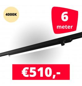 LED Railverlichting TL Linear Zwart 4000K 6 spots + 6M rails