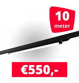 5x LED Railverlichting TL Linear Black spots + 10M rails