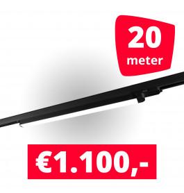 10x LED Railverlichting TL Linear Black spots + 20M rails