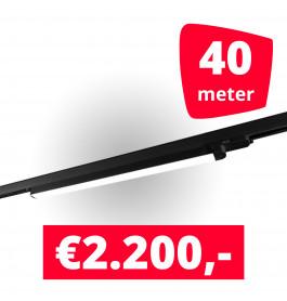 20x LED Railverlichting TL Linear Black spots + 40M rails