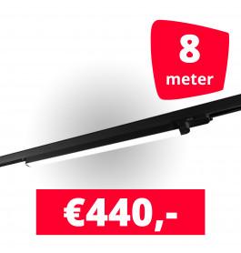 4x LED Railverlichting TL Linear Black spots + 8M rails