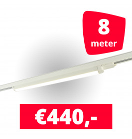 4x LED Railverlichting TL Linear White spots + 8M rails