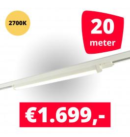 LED Railverlichting TL Linear Wit 2700K 20 spots + 20M rails