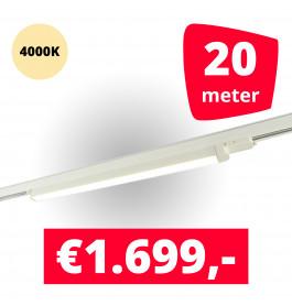 LED Railverlichting TL Linear Wit 4000K 20 spots + 20M rails