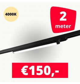 LED Railverlichting TL Linear 60 cm Zwart 4000K 2 lampen + 2M rails