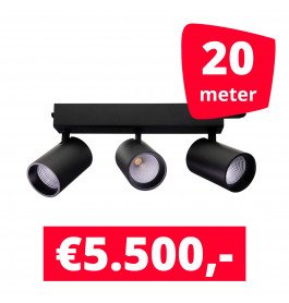 LED Railverlichting Tripolore Zwart 20 spots + 20M rails