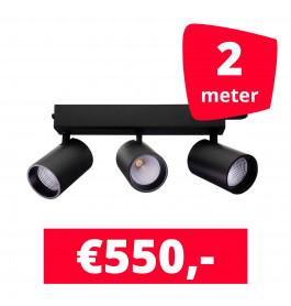 LED Railverlichting Tripolore Zwart 2 spots + 2M rails