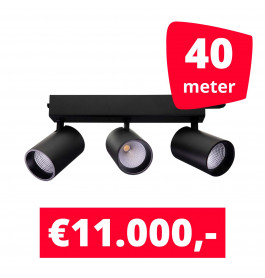 LED Railverlichting Tripolore Zwart 40 spots + 40M rails