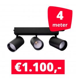 LED Railverlichting Tripolore Zwart 4 spots + 4M rails